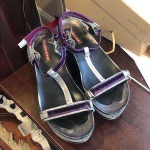 Prada platform Purple Velvet Sandals Size 36